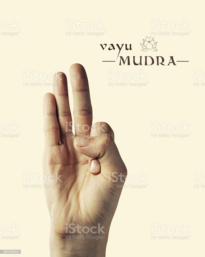 Vayu mudra color stock photo