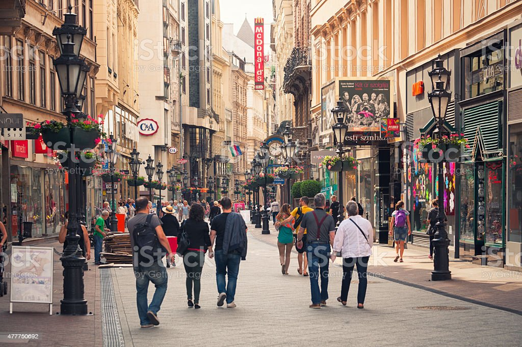 V?ci utca shopping street in Budapest stock photo