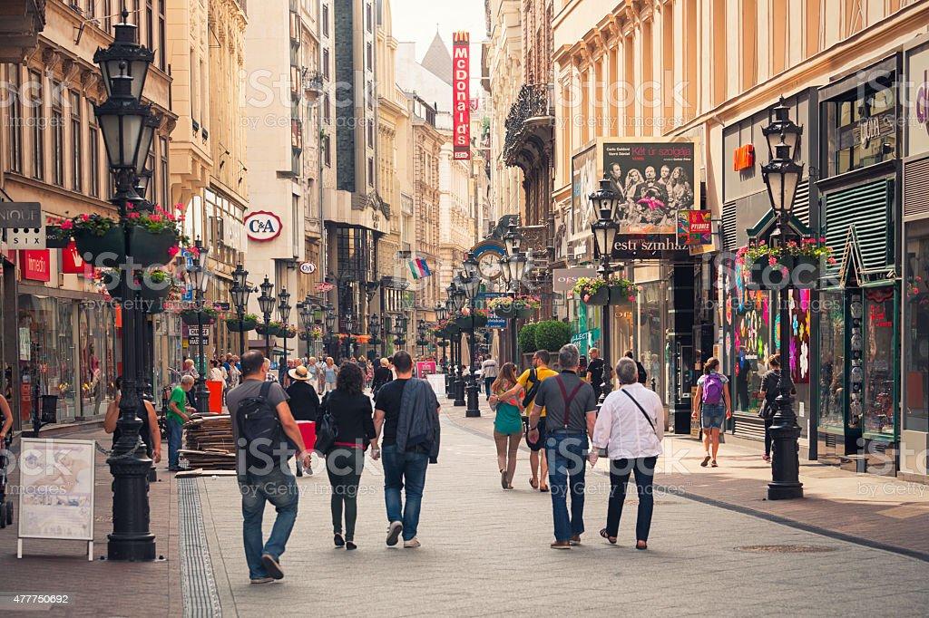 Váci utca shopping street in Budapest stock photo