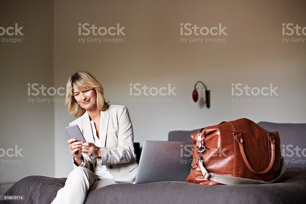 I've arrived at the hotel safe and sound... stock photo