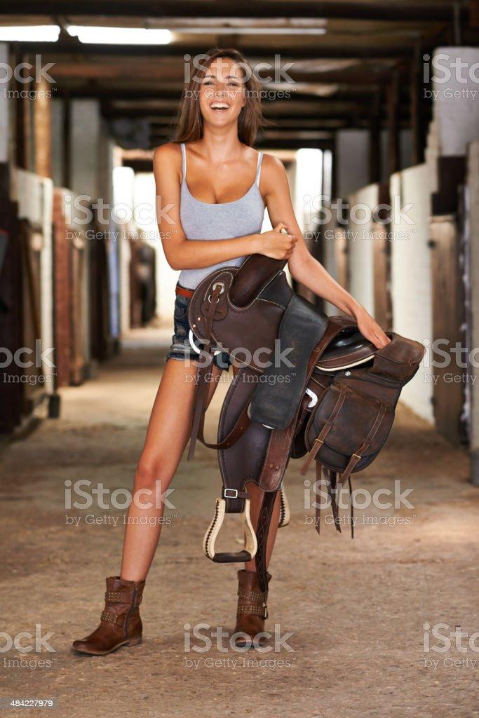 I've got my own saddle! stock photo