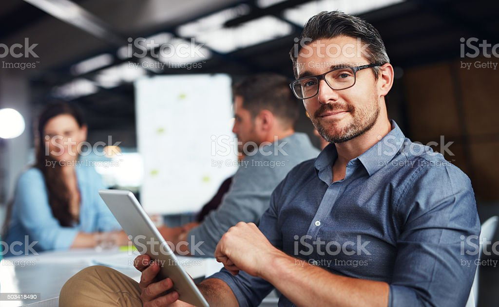 I've got my whole office on this tablet stock photo