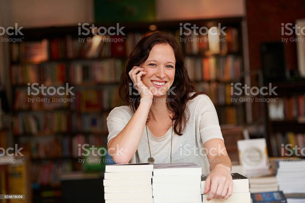 I've worked hard to make my bookstore successful stock photo