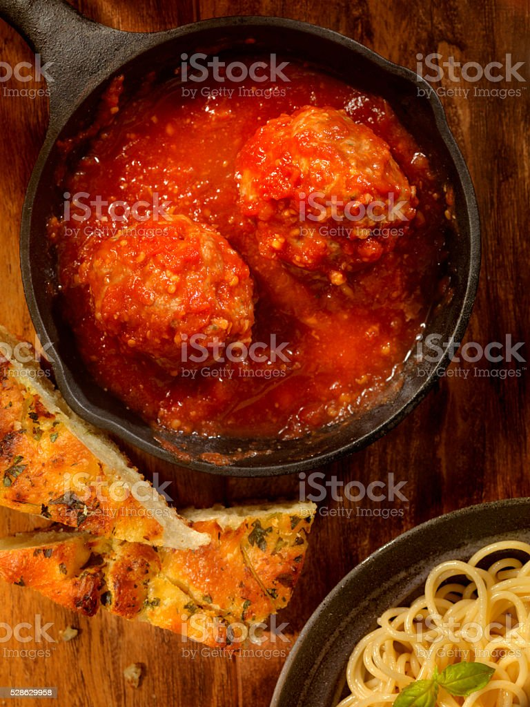 Veal and Pork Meatballs in Tomato Sauce stock photo