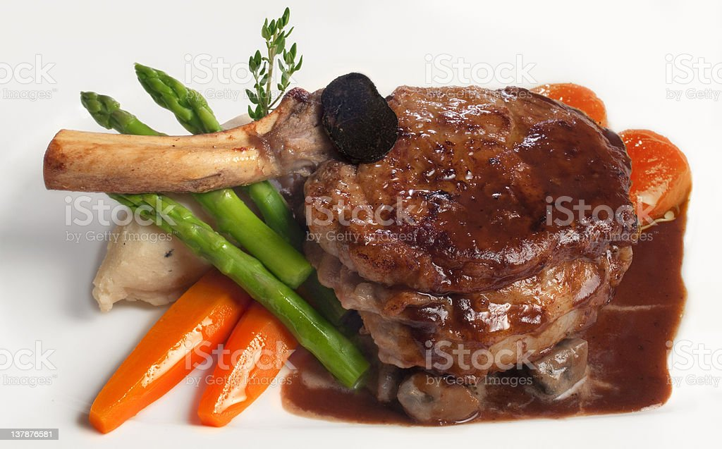 Veal chop served royalty-free stock photo