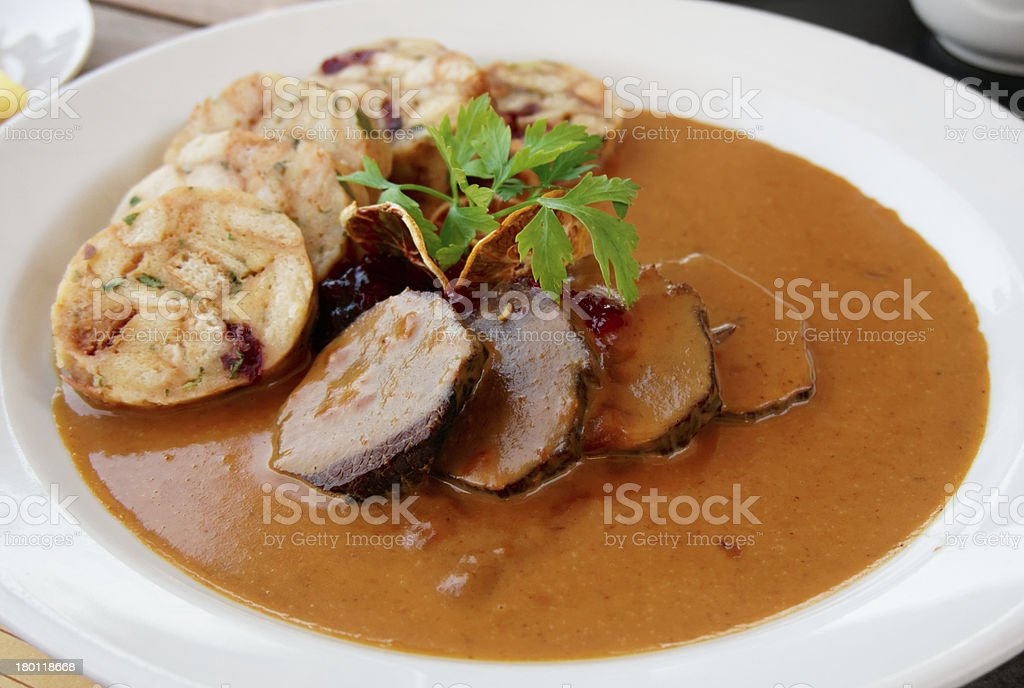 Veal fillet with rich sauce and dumplings royalty-free stock photo