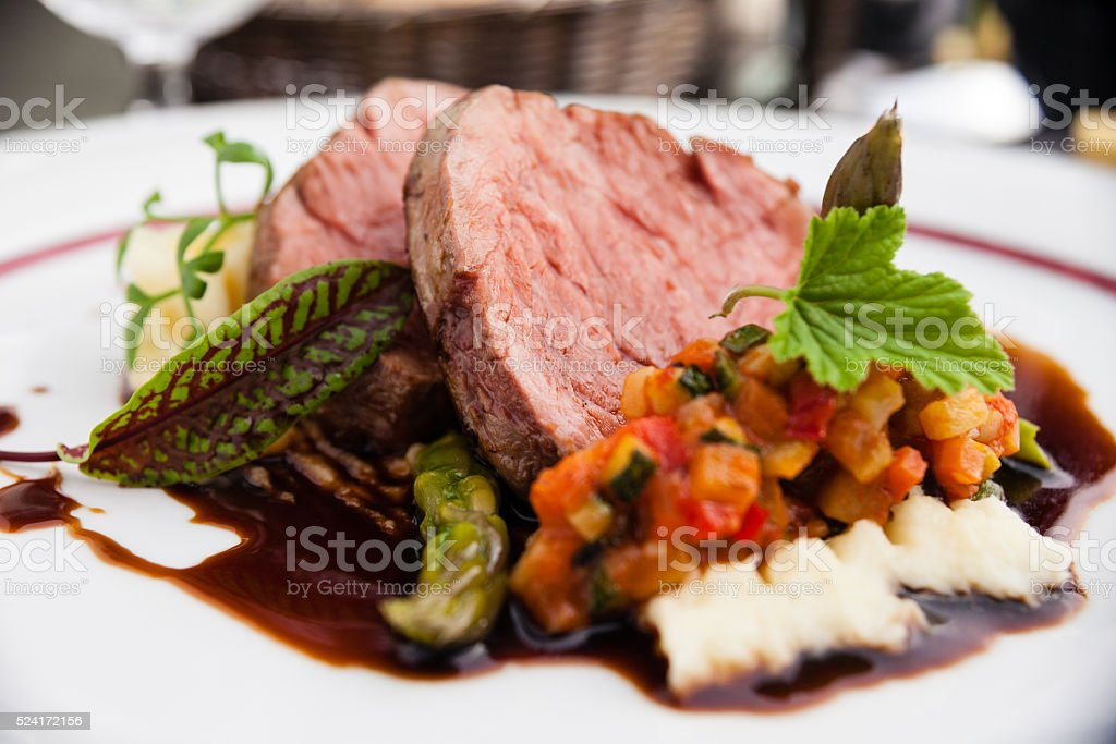 Veal fillet with vegetable ratatouille stock photo