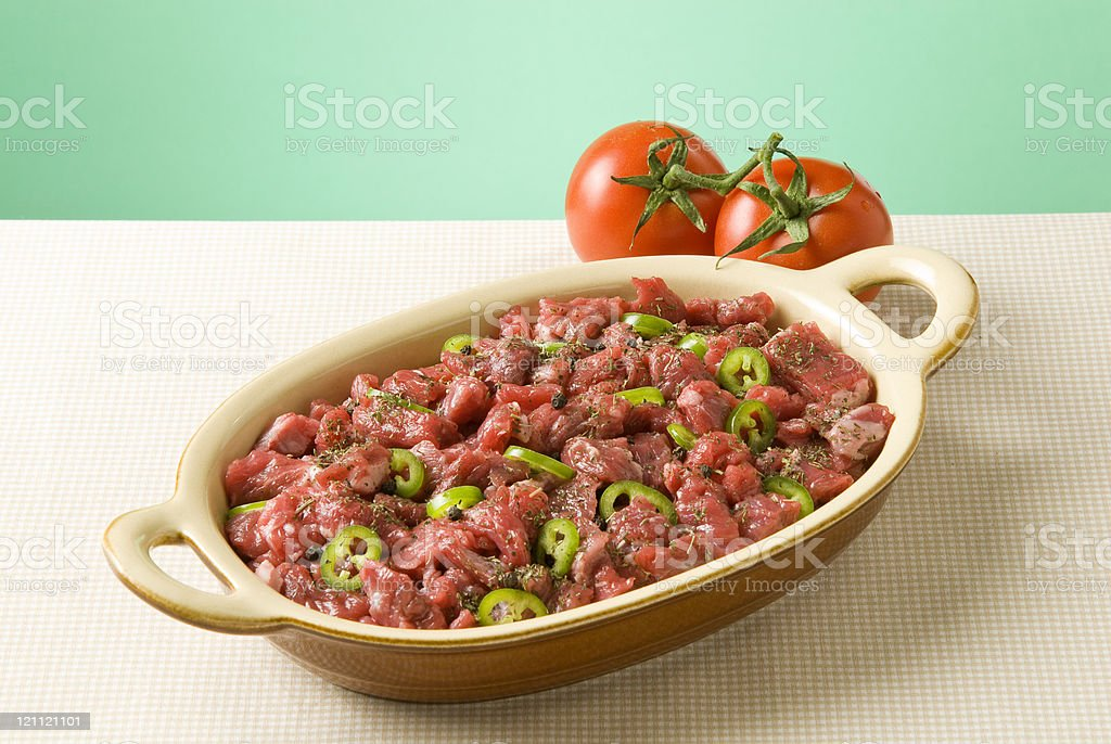 veal in plate stock photo