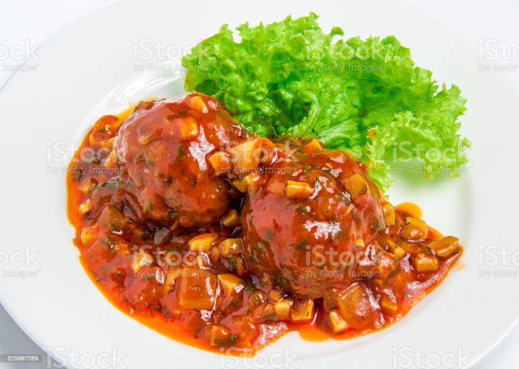 Veal meatballs stock photo