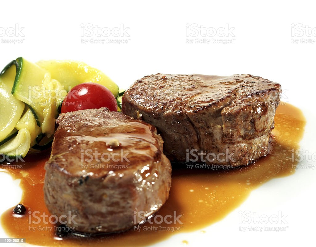 Veal Medallions with Zucchini stock photo