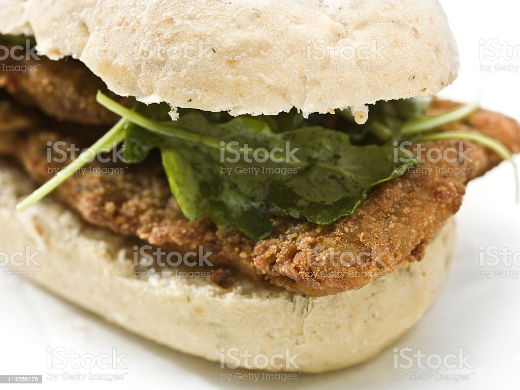 Veal Milanese sandwich stock photo