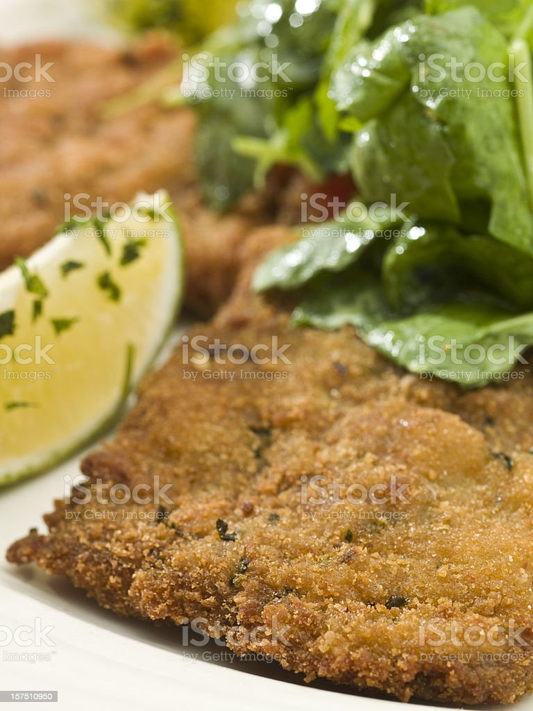 Veal Milanese with Salad stock photo