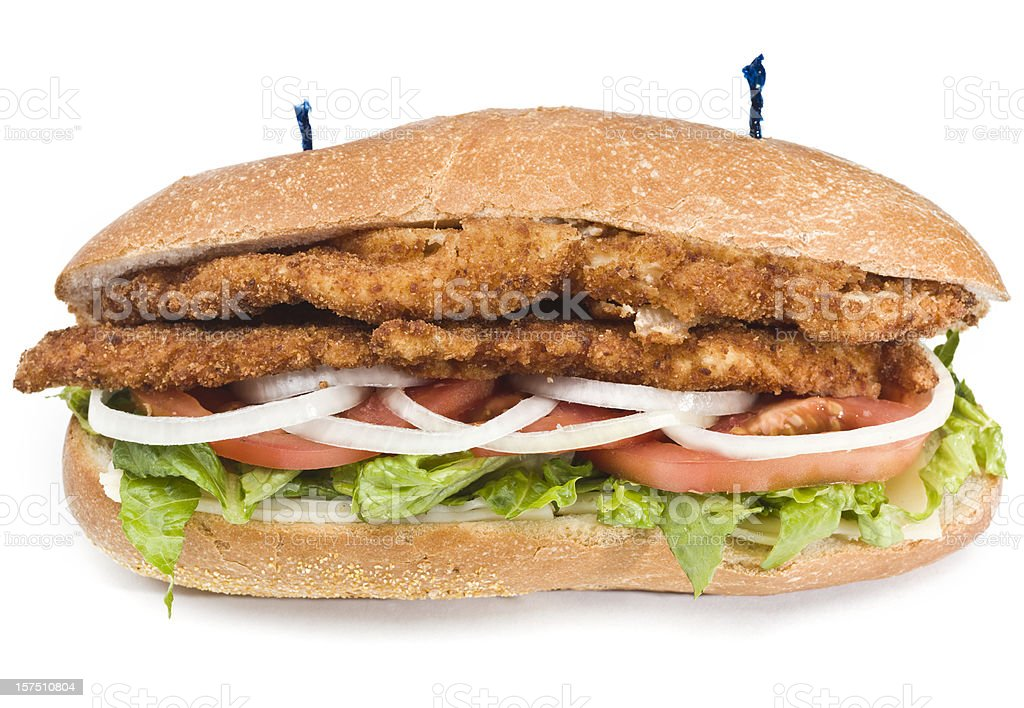 Veal or Chicken Milanese Sandwich royalty-free stock photo