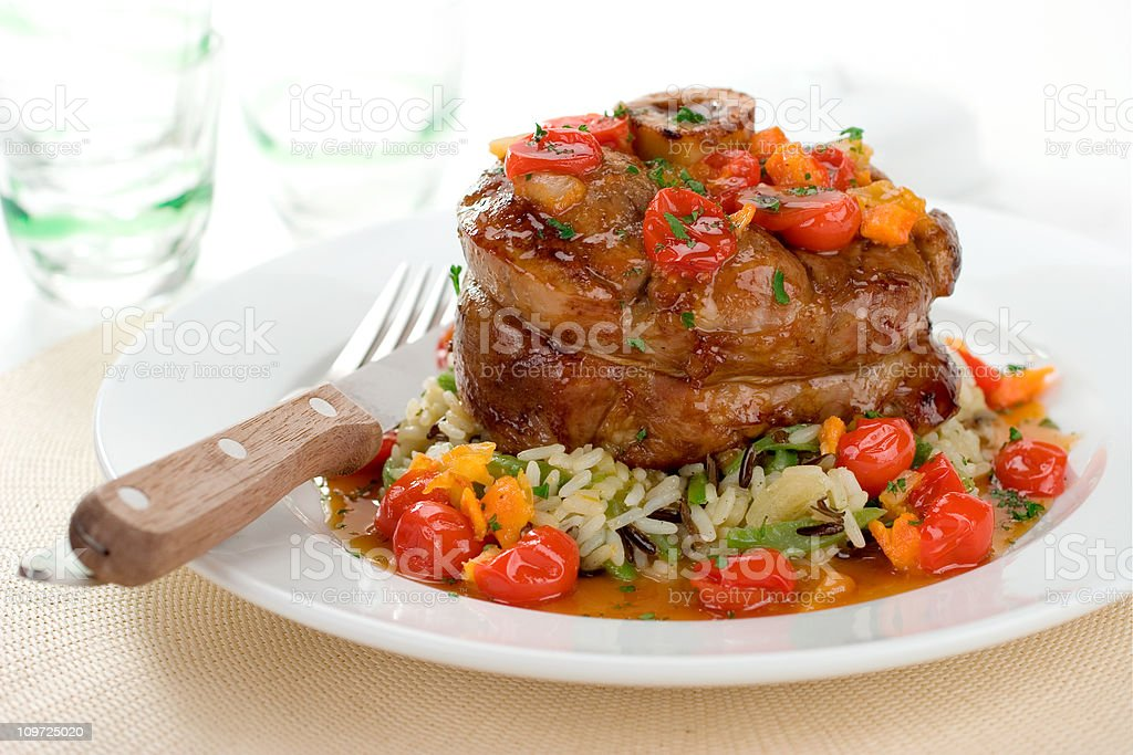 Veal Osso Buco with Rice and Vegetables stock photo