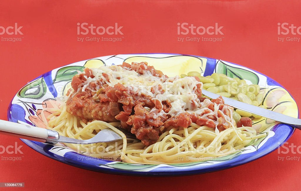 Veal Parmesan and Pasta stock photo
