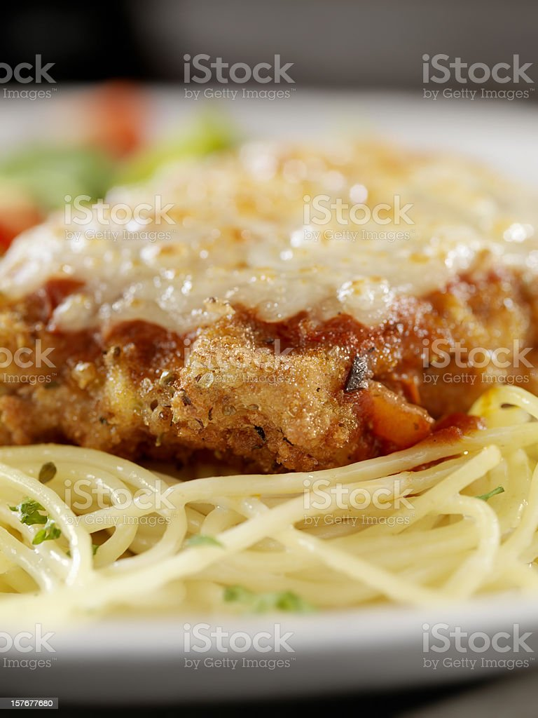 Veal Parmigiana with Spaghetti royalty-free stock photo