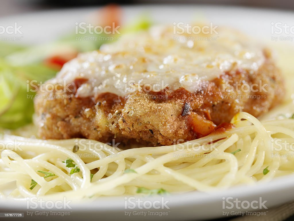 Veal Parmigiana with Spaghetti stock photo