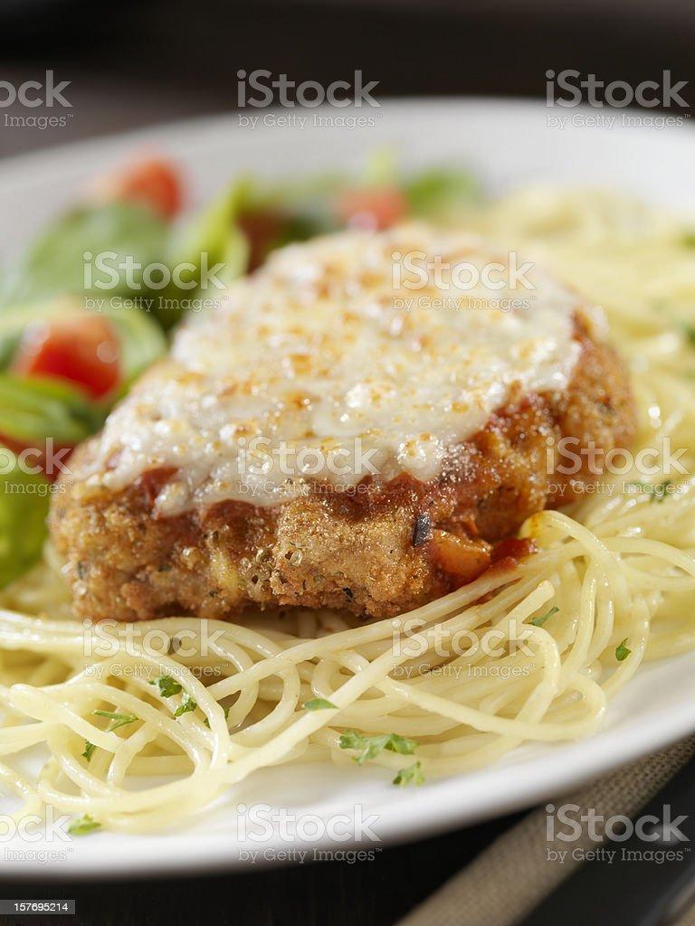 Veal Parmigiana with Spaghetti royalty-free stock photo