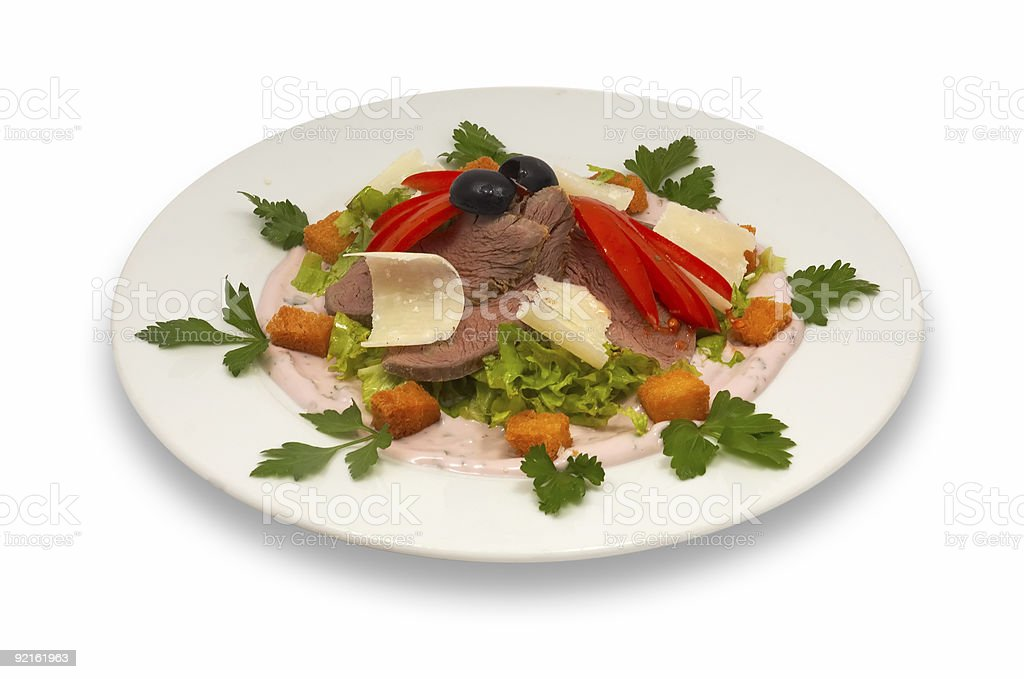 veal salad with vegetables and parmesan 2 royalty-free stock photo