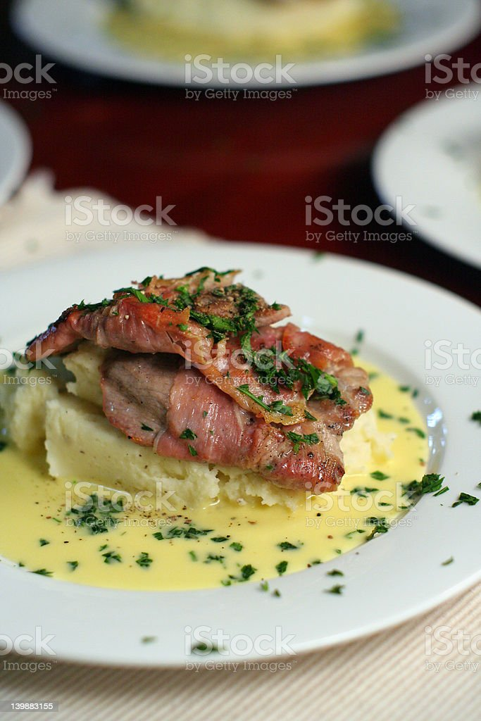 Veal Scallopini with Beure Blanc, portrait stock photo