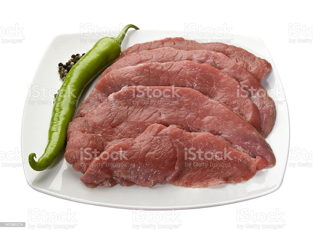 Veal slices for schnitzel royalty-free stock photo