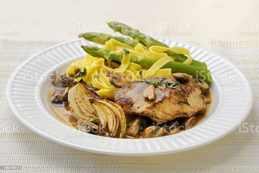 veal steak with green asparagus mushrooms and fennel royalty-free stock photo