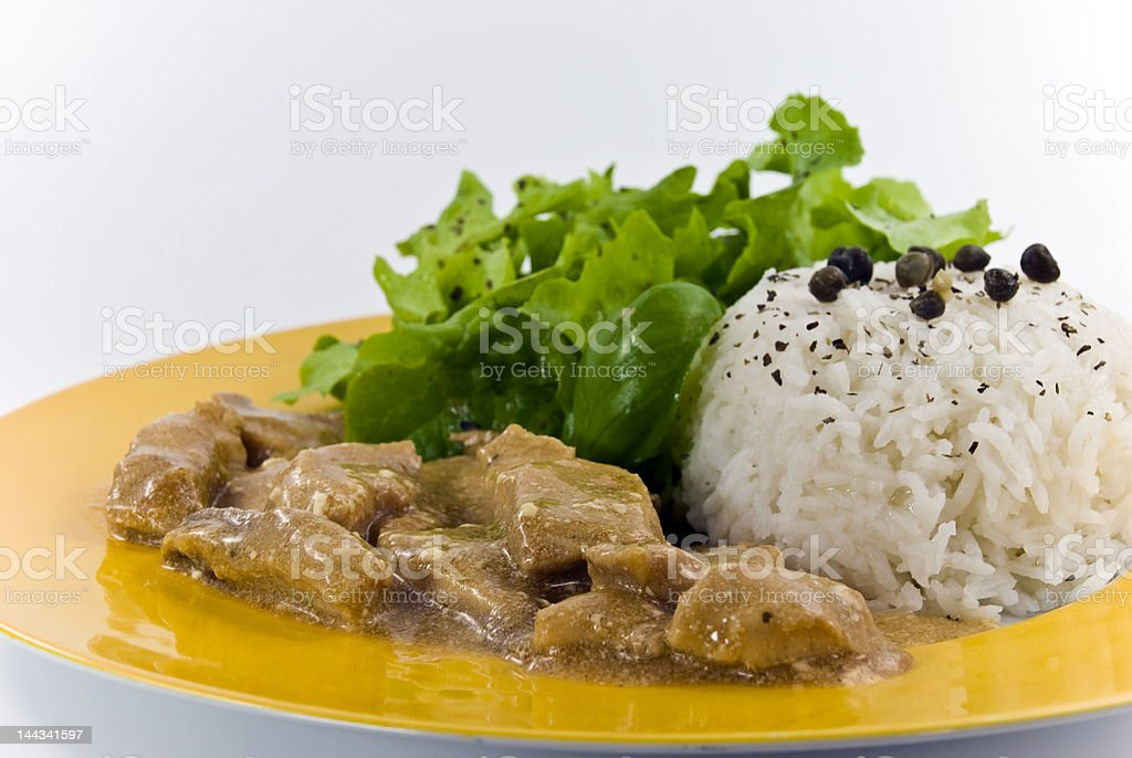 veal strips in cream and mushroom sauce royalty-free stock photo