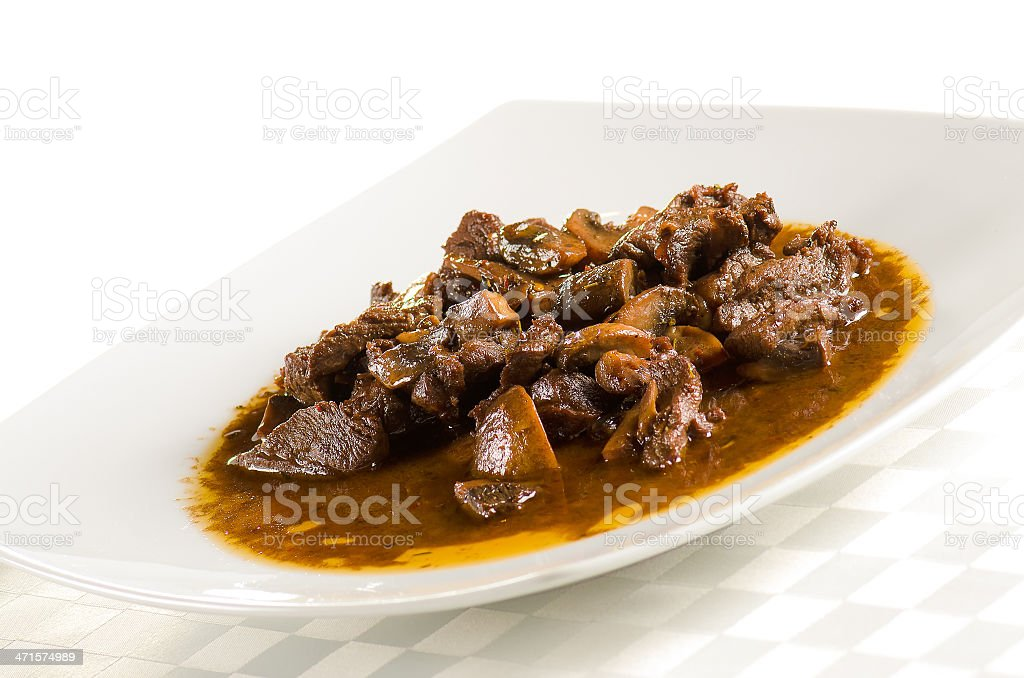 veal with mushroom sauce royalty-free stock photo