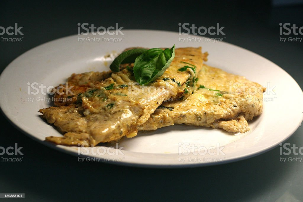 veal with parmesan coating stock photo