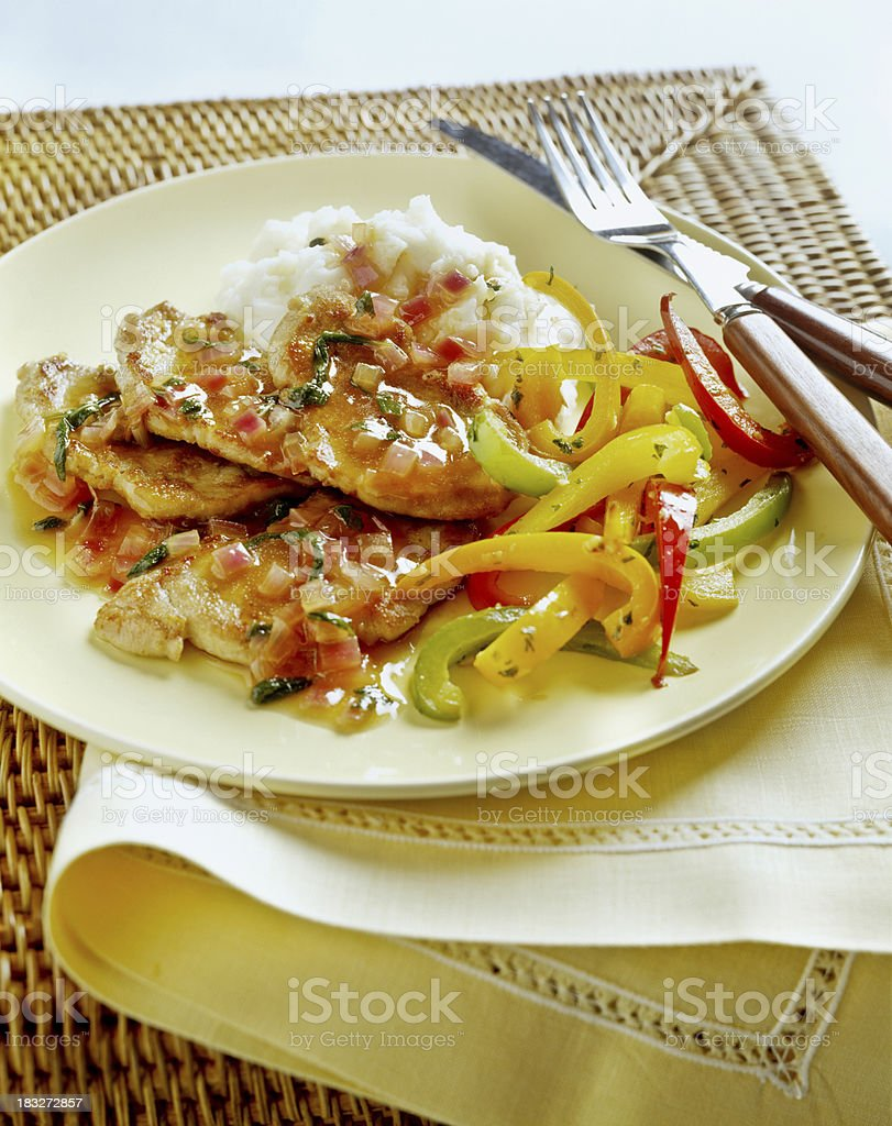 Veal with peppers and Sauce royalty-free stock photo
