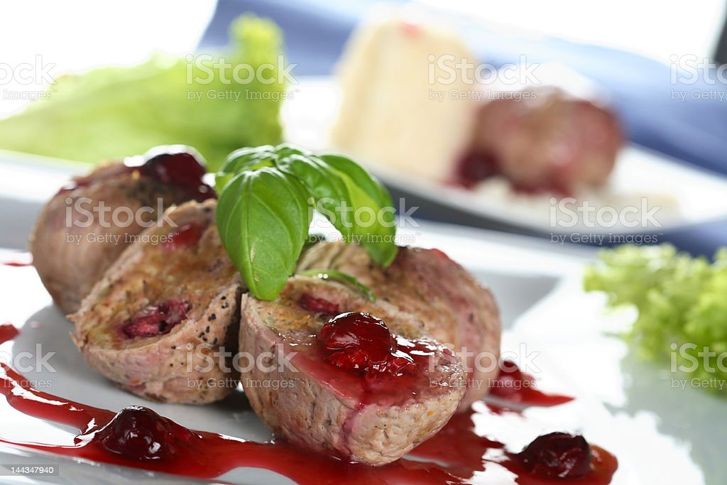 Veal with sesame mousse royalty-free stock photo