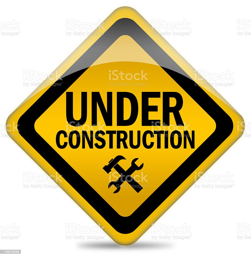 Vector art under construction sign on a white background stock photo