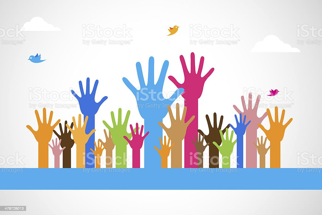 Vector Colorful Raised Hands stock photo