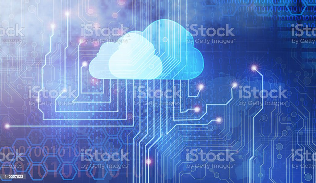 Vector concept of cloud computing technology stock photo