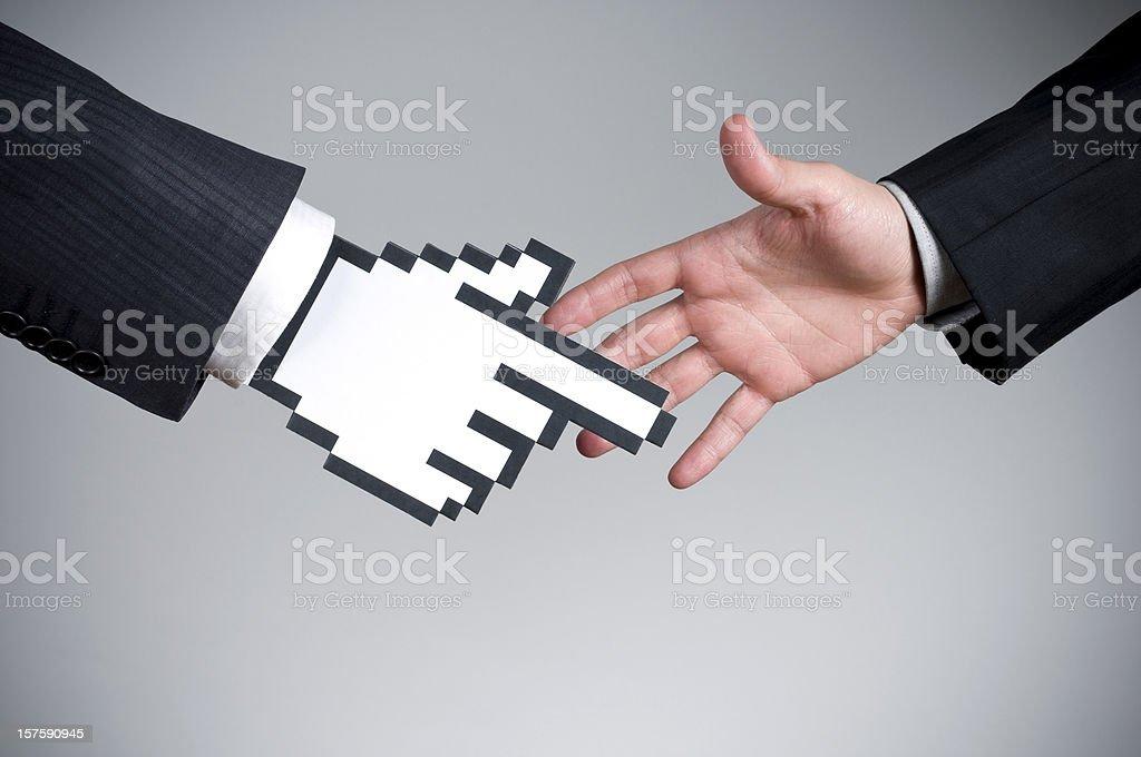 Vector cursor handshake on a real hand stock photo