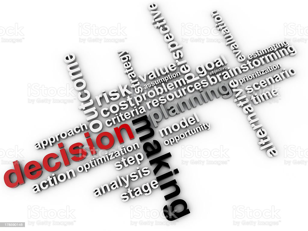 Vector decision-making concept with word cloud stock photo