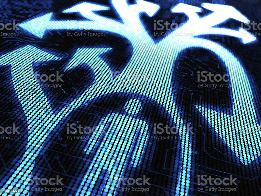 Vector digital man with arrows illustration in blue tones stock photo