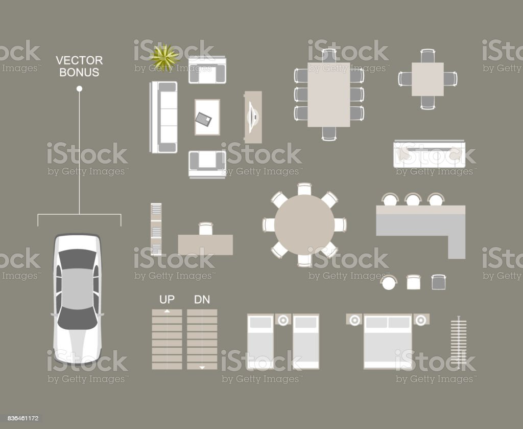 Vector furniture icons top view with bed, sofa, dining table, chairs, bar, bookshelves, hanger.  Vector car top view bonus icon. stock photo