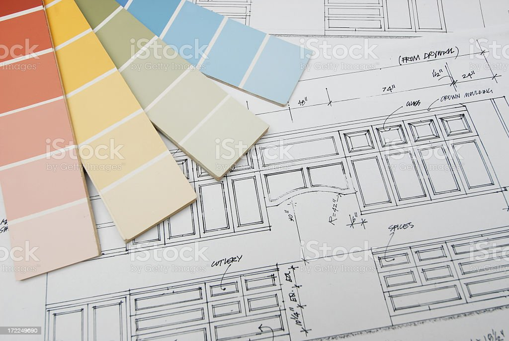 Vector graphic of interior design on a blueprint stock photo