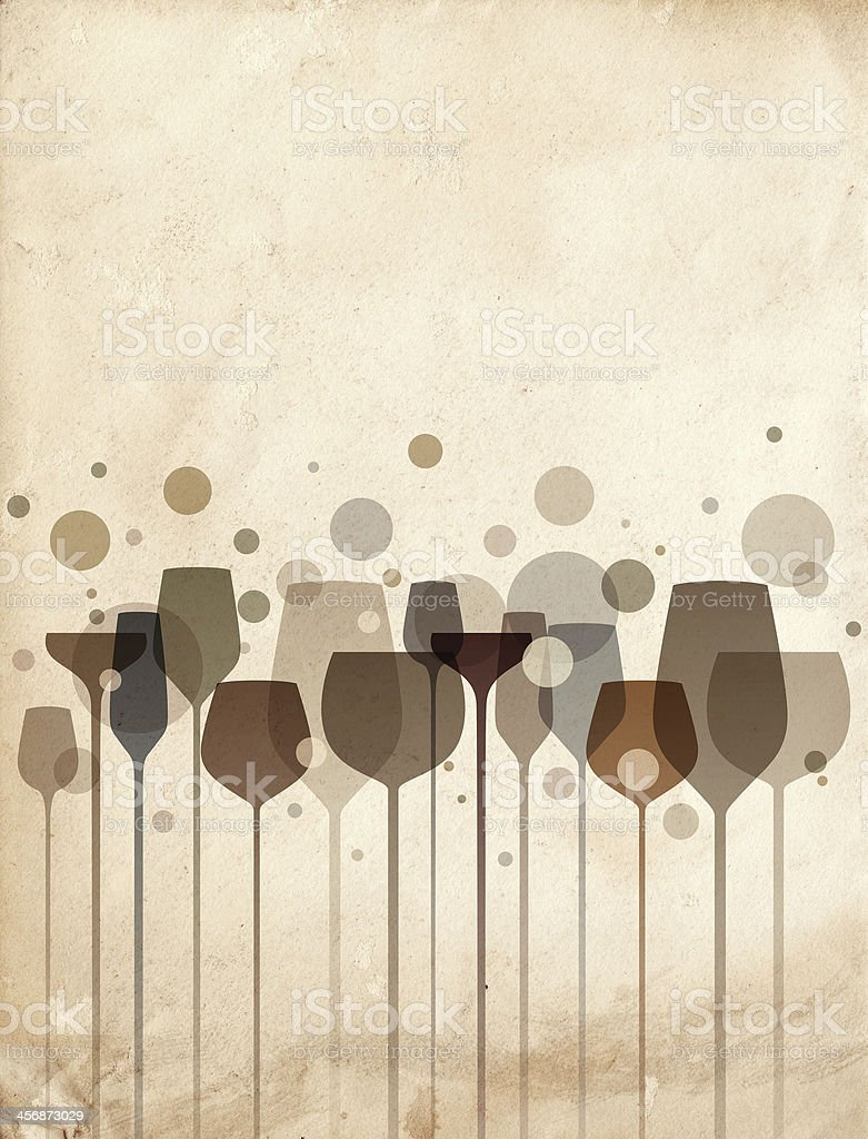 Vector graphic of party glasses and bubbles on cream stock photo