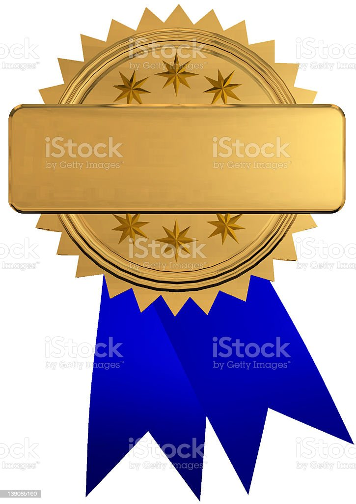 A vector illustration of a blue ribbon with a gold medal royalty-free stock photo