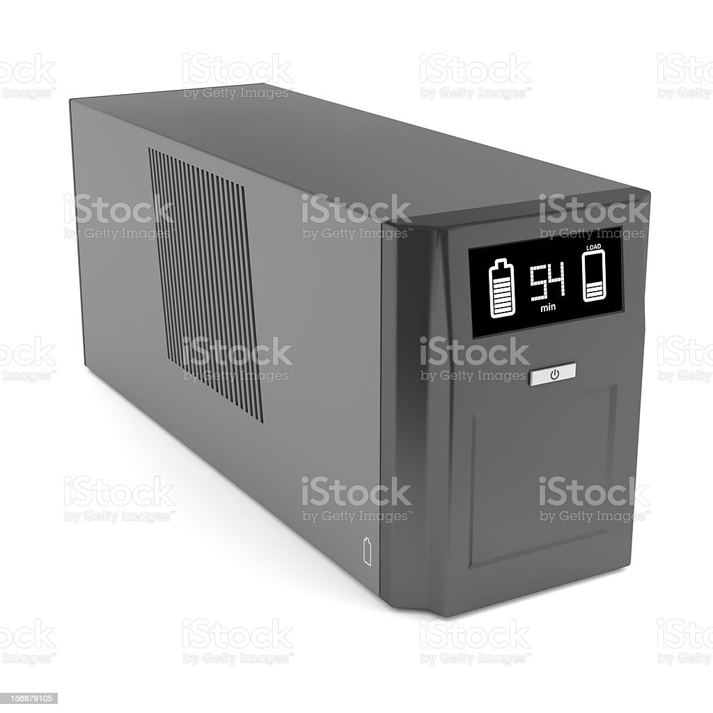 Vector illustration of a gray power generator over white royalty-free stock photo