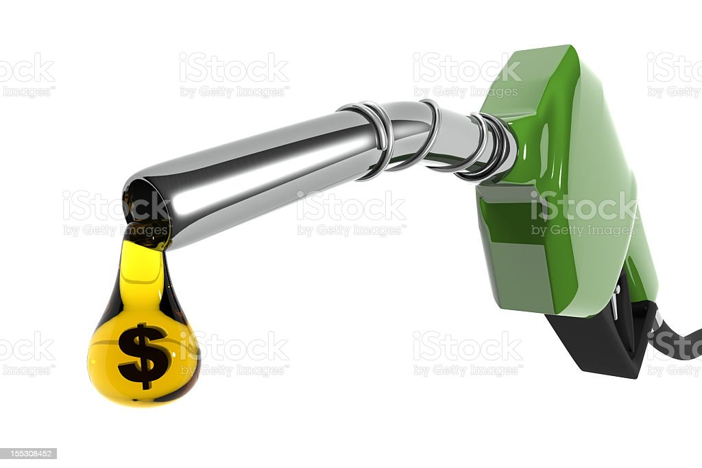 Vector illustration of a green nozzle with money dripping stock photo
