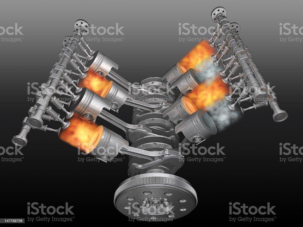 Vector illustration of a motor running stock photo