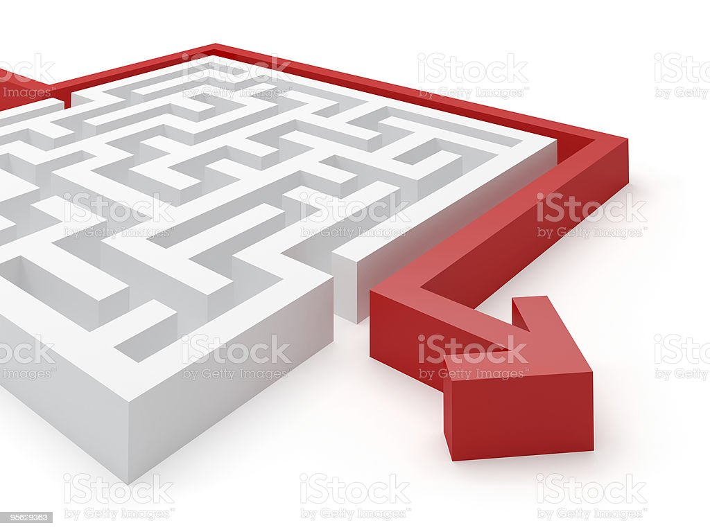 3D vector illustration of a red arrow solving a white maze stock photo