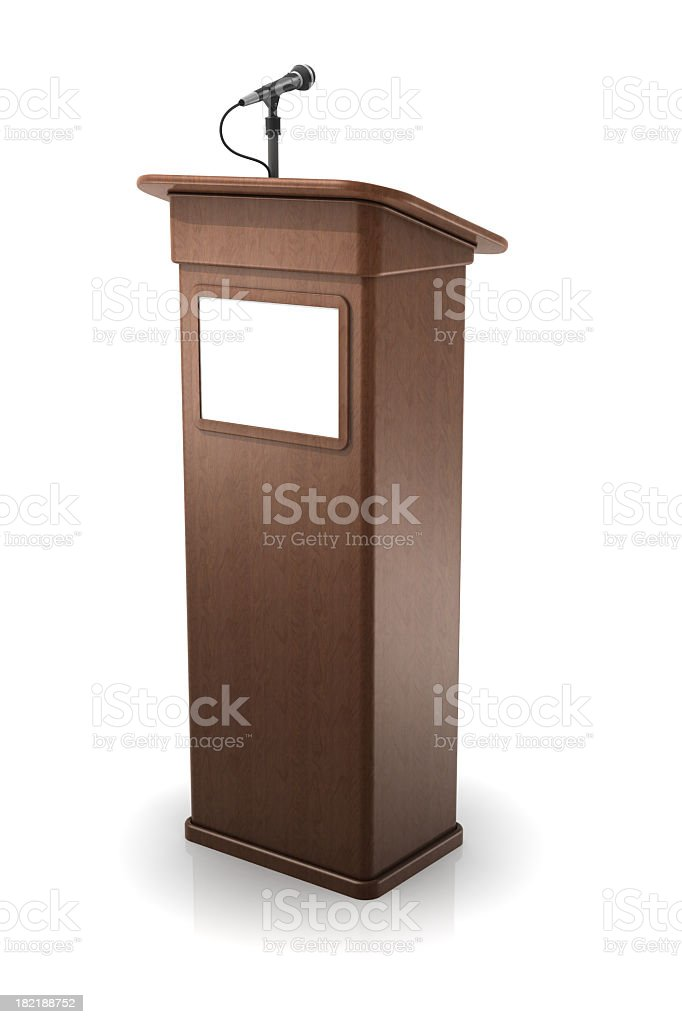 Vector illustration of a wooden podium stock photo