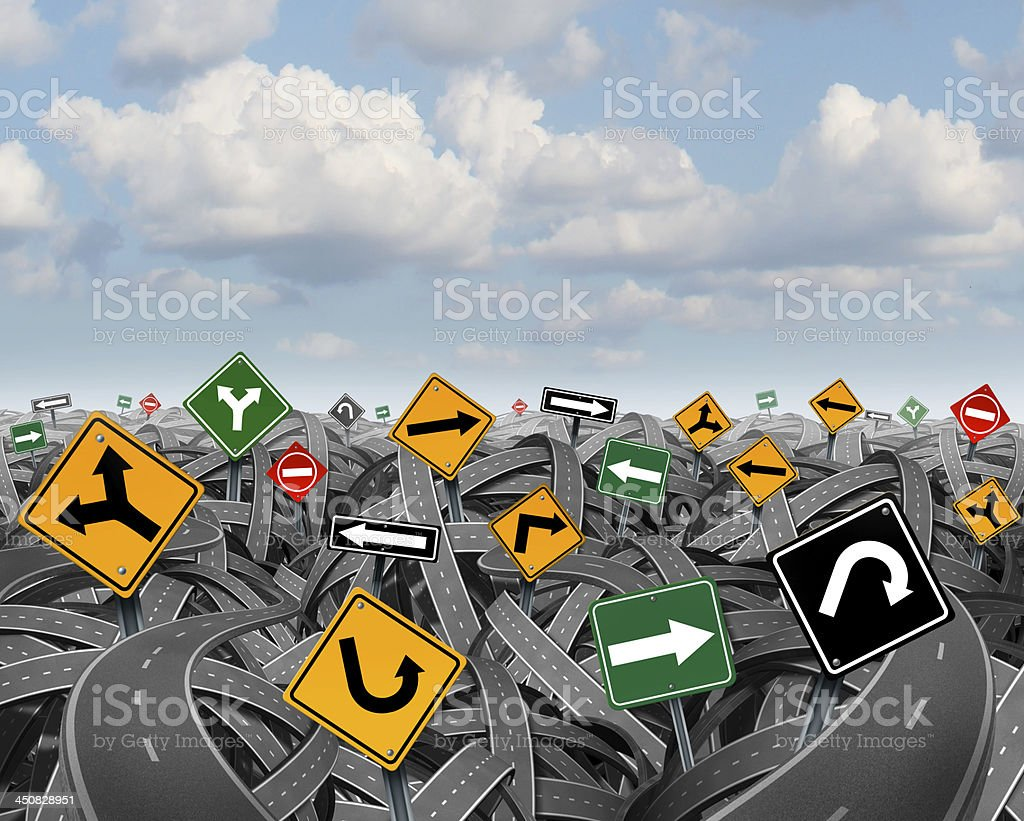 Vector illustration of jumbled roads and signs stock photo
