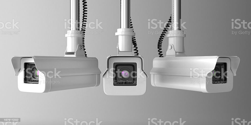 Vector illustration of three security cameras stock photo