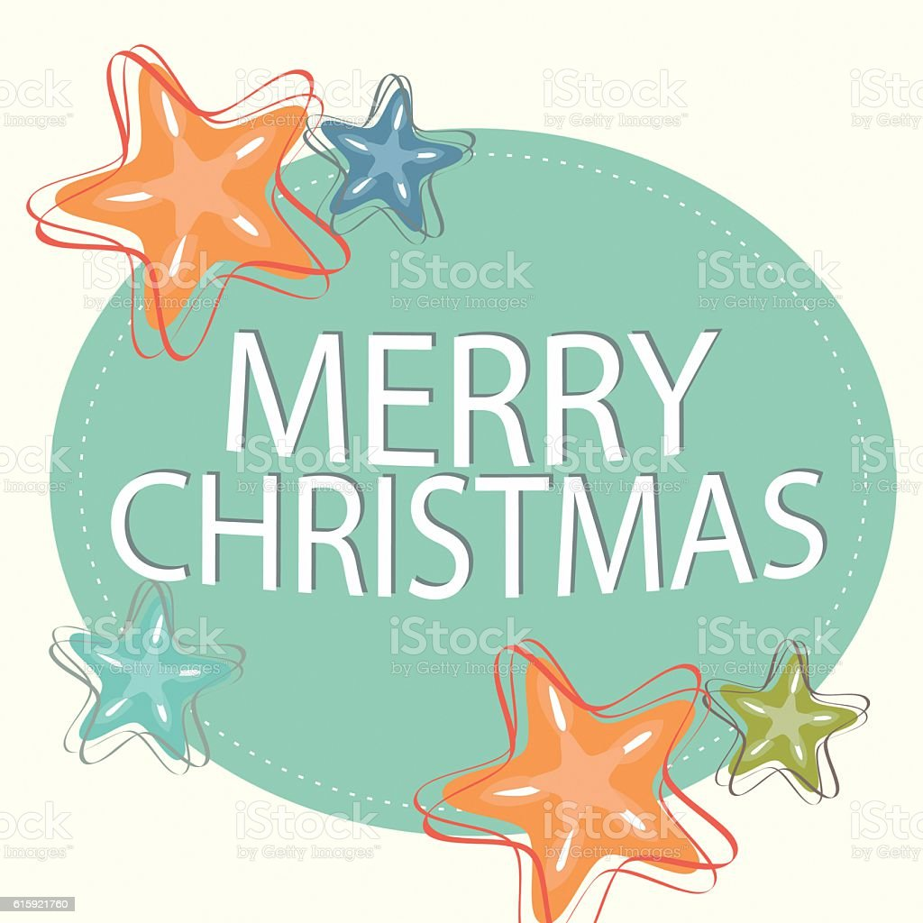Vector Image Merry Christmas Element with Stars stock photo