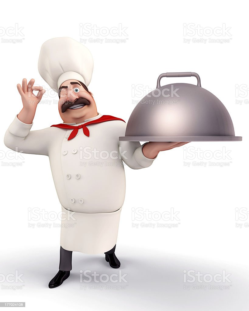 A 3D vector image of a chef with a dish royalty-free stock photo